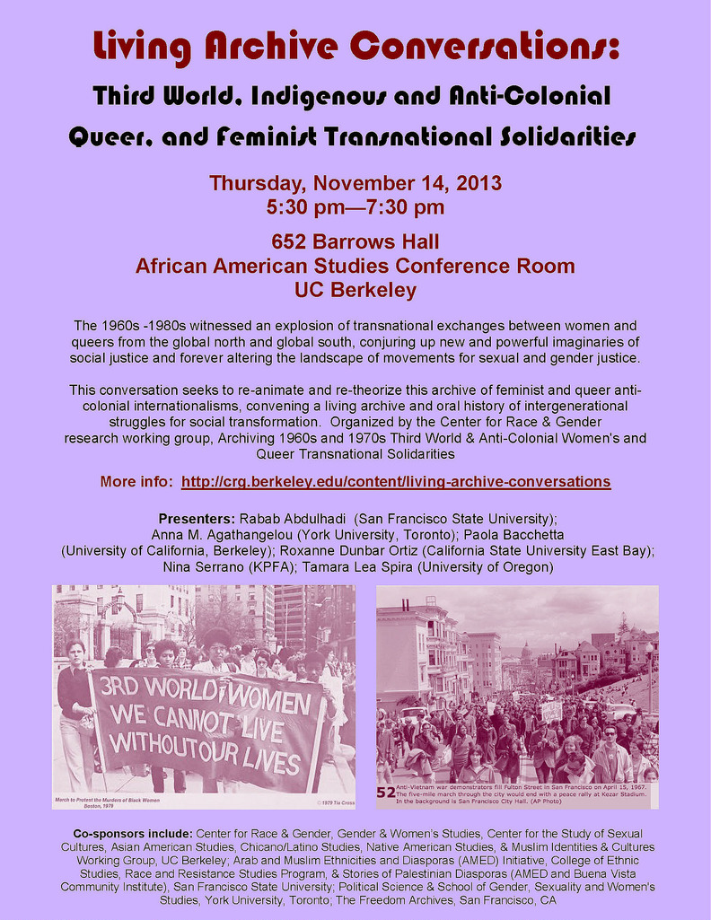 Living Archive Conversations: Third World, Indigenous and Anti-Colonial Queer, and Feminist Transnational Solidarities