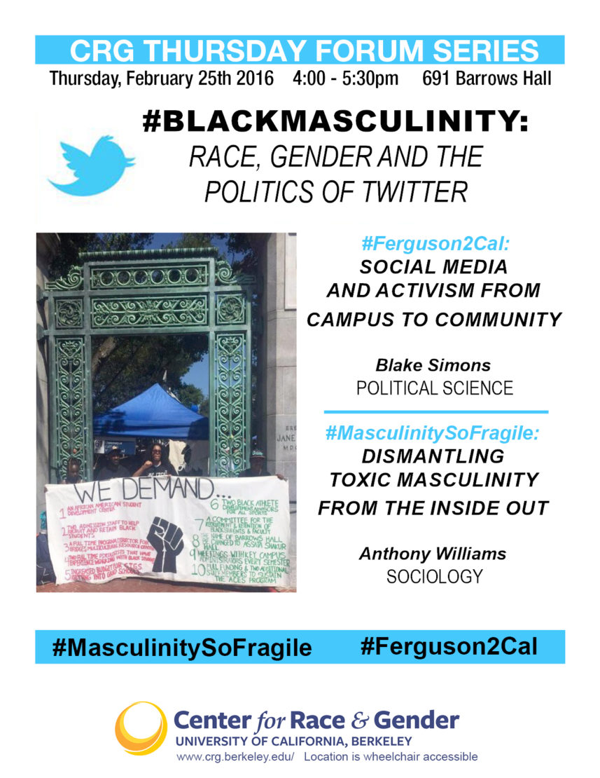 #BlackMasculinity: Race, Gender and the Politics of Twitter