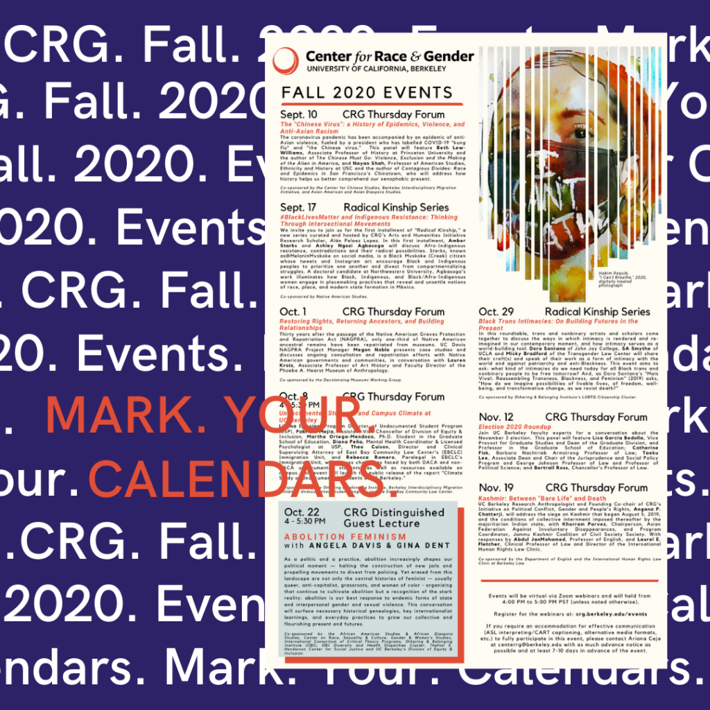 Mark Your Calendar CRG Fall 2020 Events