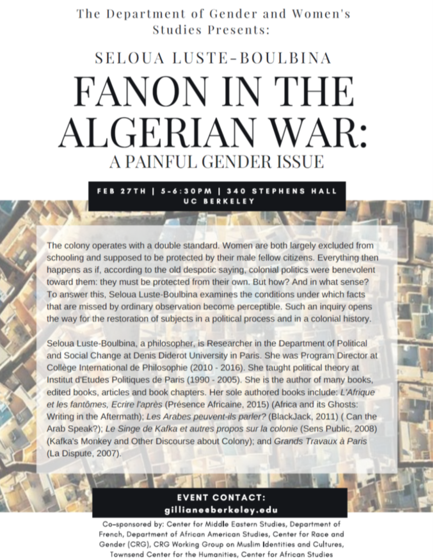 Fanon in the Algerian War: A Painful Gender Issue