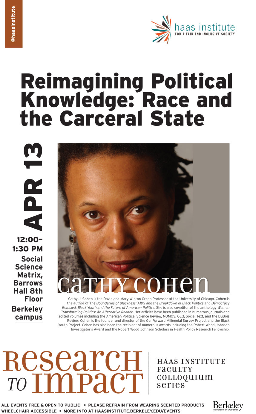 Cathy Cohen on 'Reimagining Political Knowledge: Race and the Carceral State'