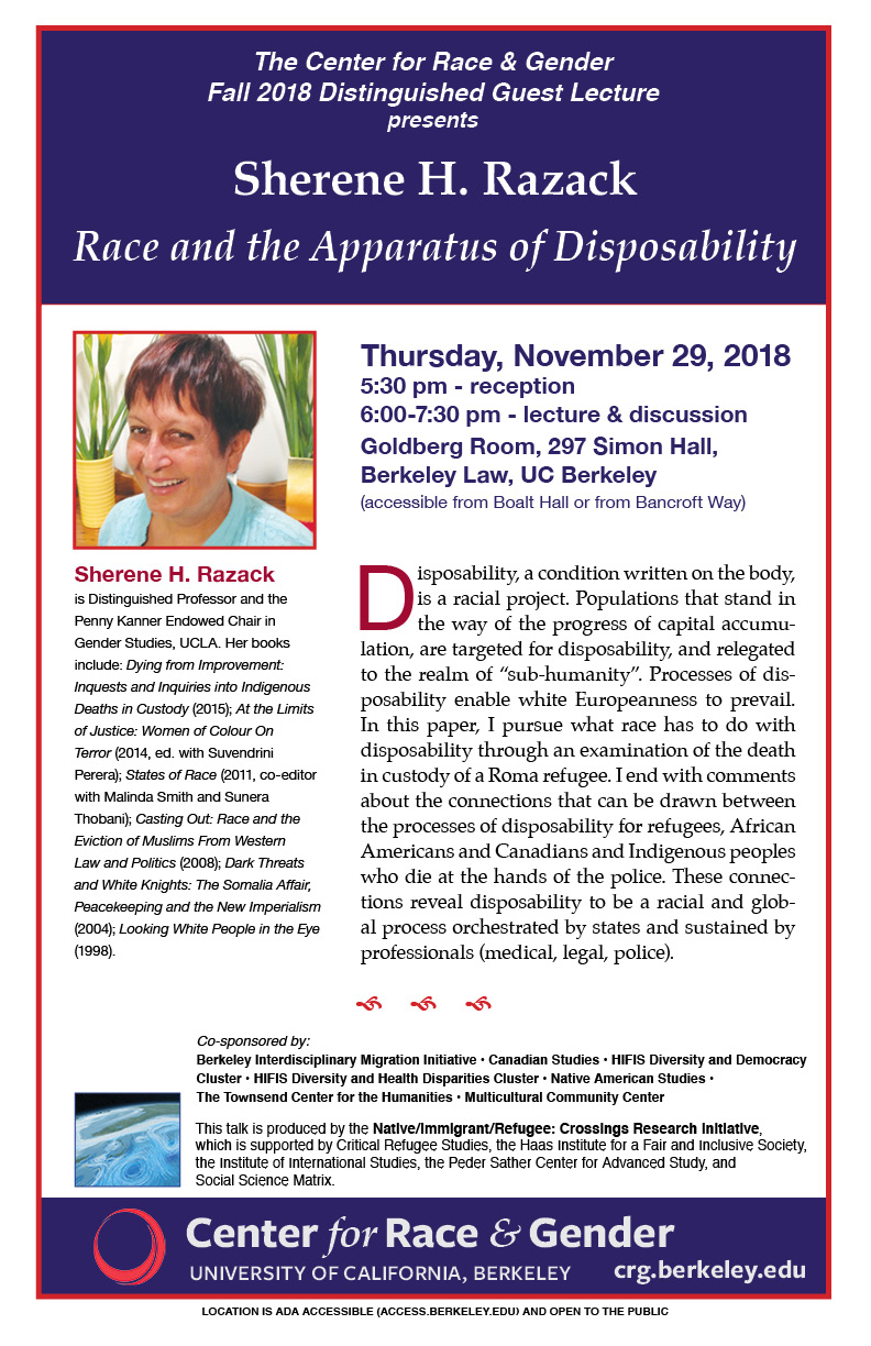 Fall 2018 Distinguished Lecture: Race and the Apparatus of Disposability