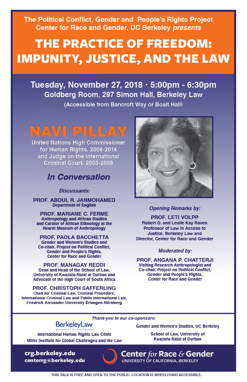 The Practice of Freedom: Impunity, Justice, and the Law featuring Judge Navi Pillay