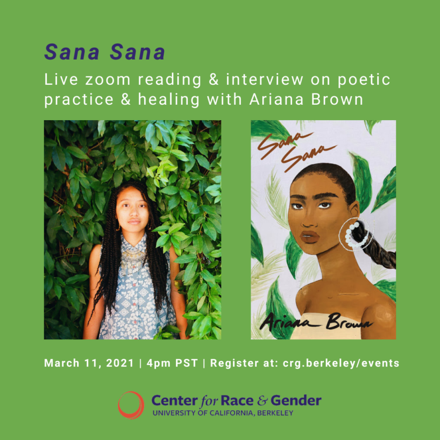 Sana Sana: Live Zoom reading & interview on poetic practice & healing with Ariana Brown