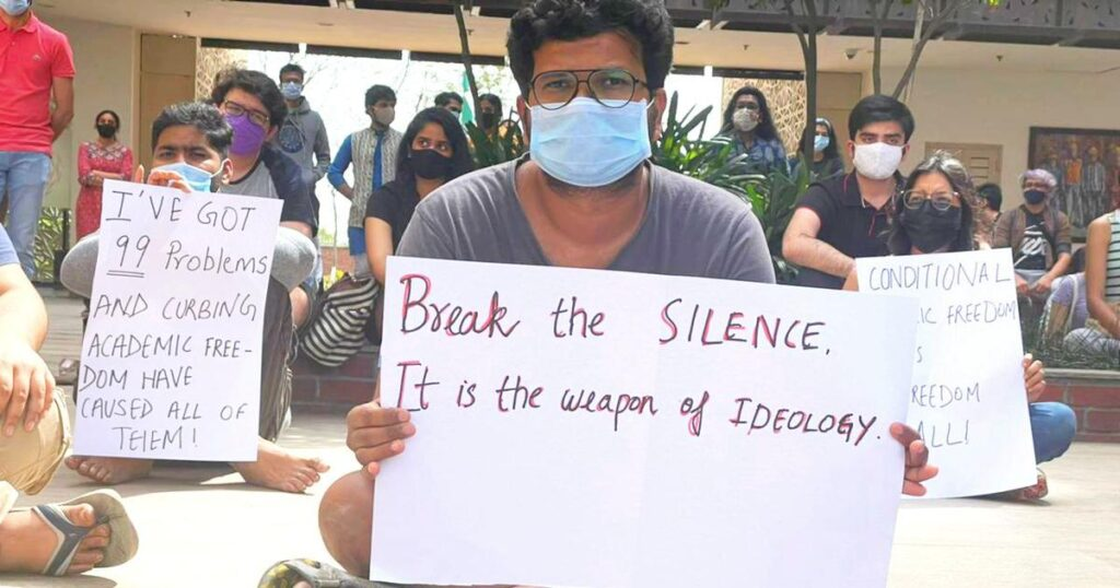 A student at the protest organised at Ashoka University on Thursday afternoon after Pratap Bhanu Mehta's resignation.