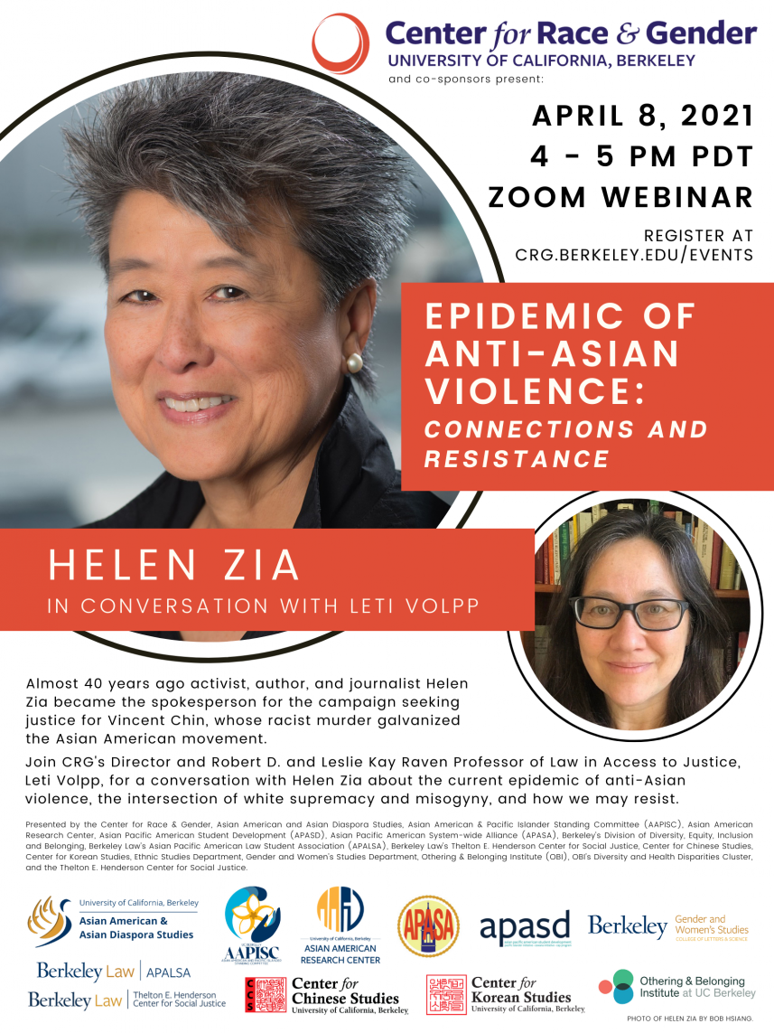 Epidemic of Anti-Asian Violence: Connections and Resistance, Helen Zia in conversation with Leti Volpp
