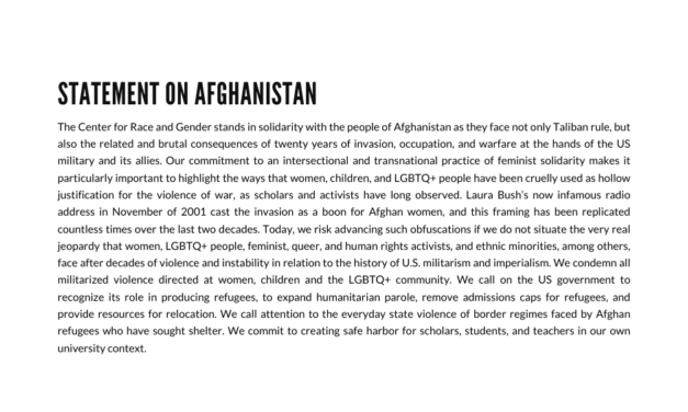 Statement on Afghanistan